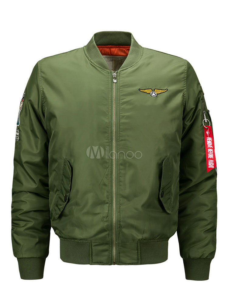 Buy Men Military Jacket Men Bomber Jacket Stand Collar Long Sleeve Zip Up Winter Jacket for $37.99 in Milanoo store