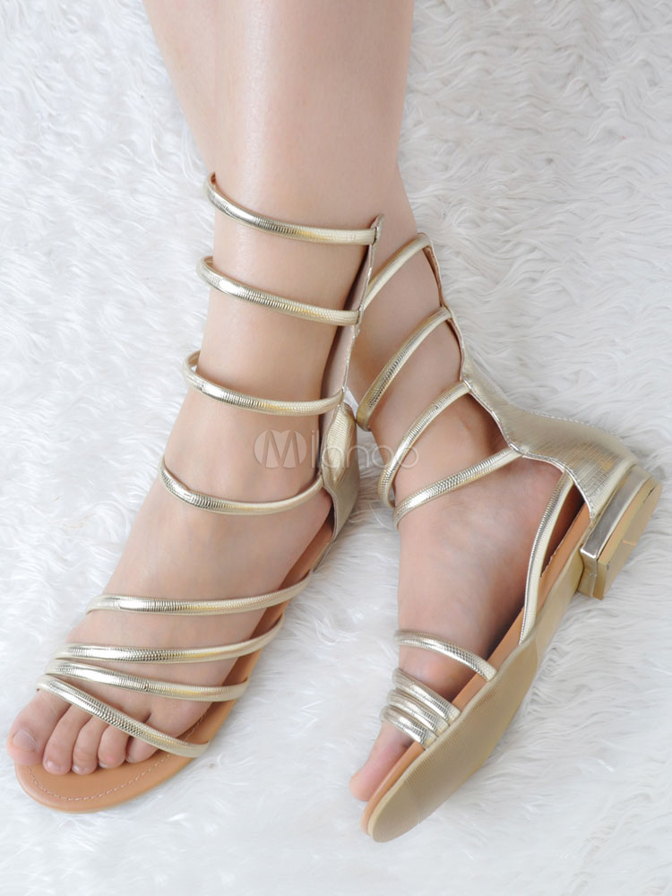 Buy Women Gladiator Sandals Gold Flat Sandals Open Toe Strappy Sandal Shoes for $59.99 in Milanoo store