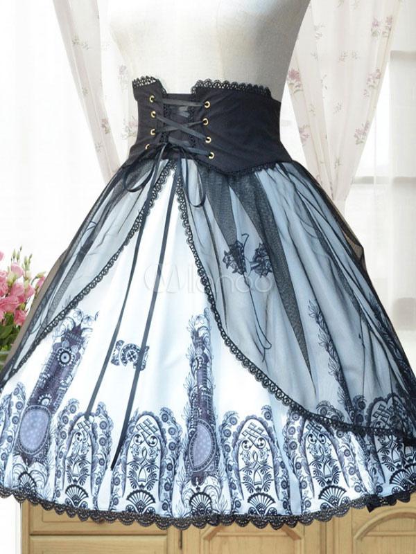 Buy Gothic Lolita Skirt Neverland Chiffon Pleated Printed Black Lolita Bottom for $62.99 in Milanoo store