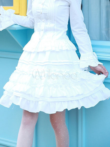 Classic Lolita Skirts Neverland Ruffles Layered White Lolita Bottoms