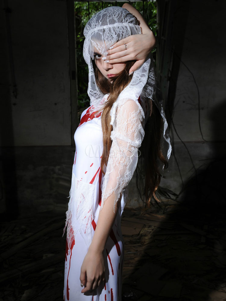 White Zombie Nurse Costume Halloween Dress With Veil For Women