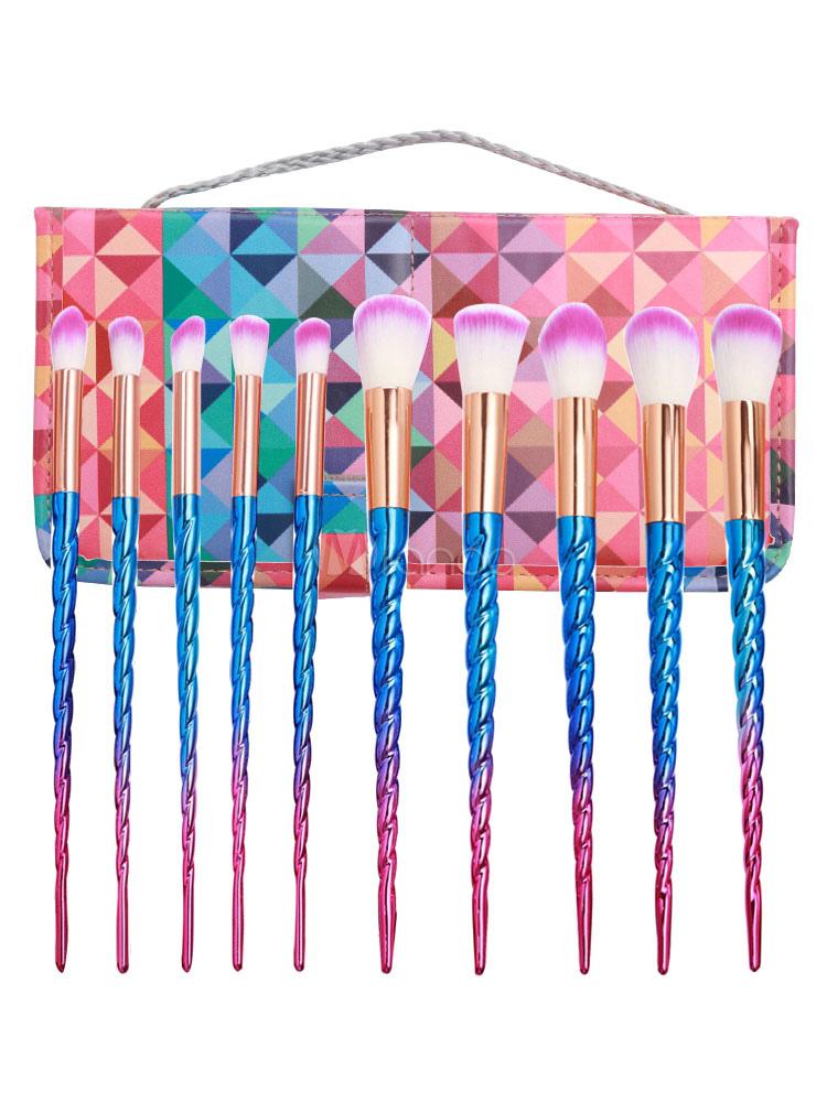 Professional Makeup Brush Combo Unicorn Design Spiral Ombre 10 Pieces Portable Makeup Brush