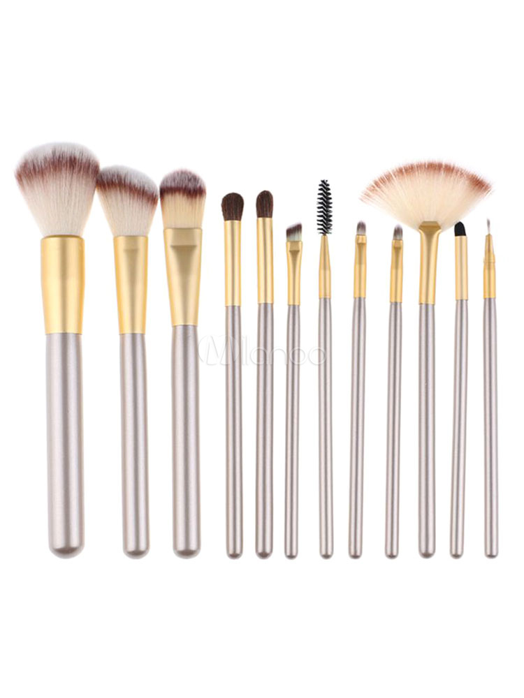 Portable Makeup Brush Synthetic Fiber Champagne 12 Piece Professional Makeup Brush Combo With Kit