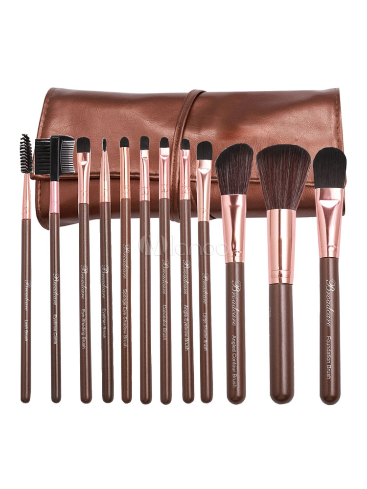 Buy Professional Makeup Brush Wood Bar Fine Fiber Portable 12 Piece Makeup Brush Combo With Kit for $10.78 in Milanoo store