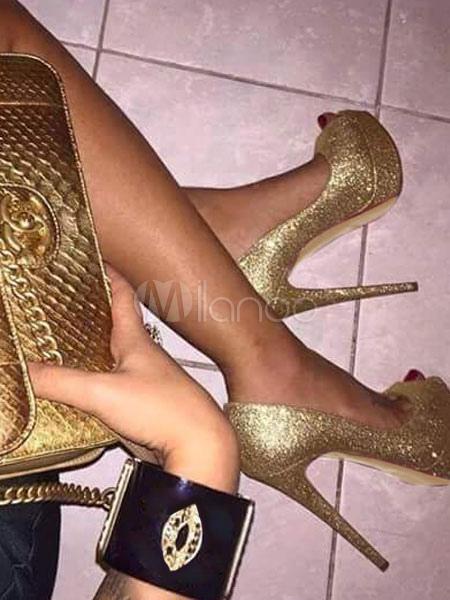 Zapatos de novia Zapatos de tacón alto de tacón de stiletto de punter Peep Toe de tela brillante dorados estilo moderno VYksAy
