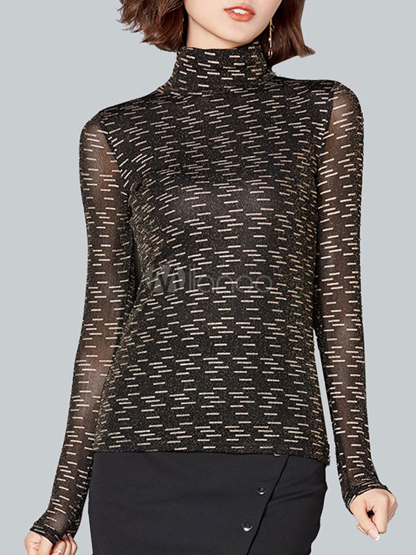 Buy Black Blouse Long Sleeve High Collar Geometric Print Top For Women for $23.74 in Milanoo store