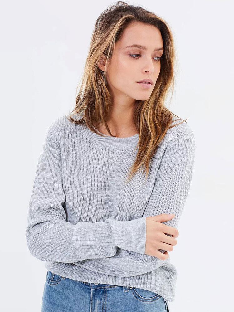 Pullover Sweater Grey Long Sleeve Round Neck Backless Top For Women