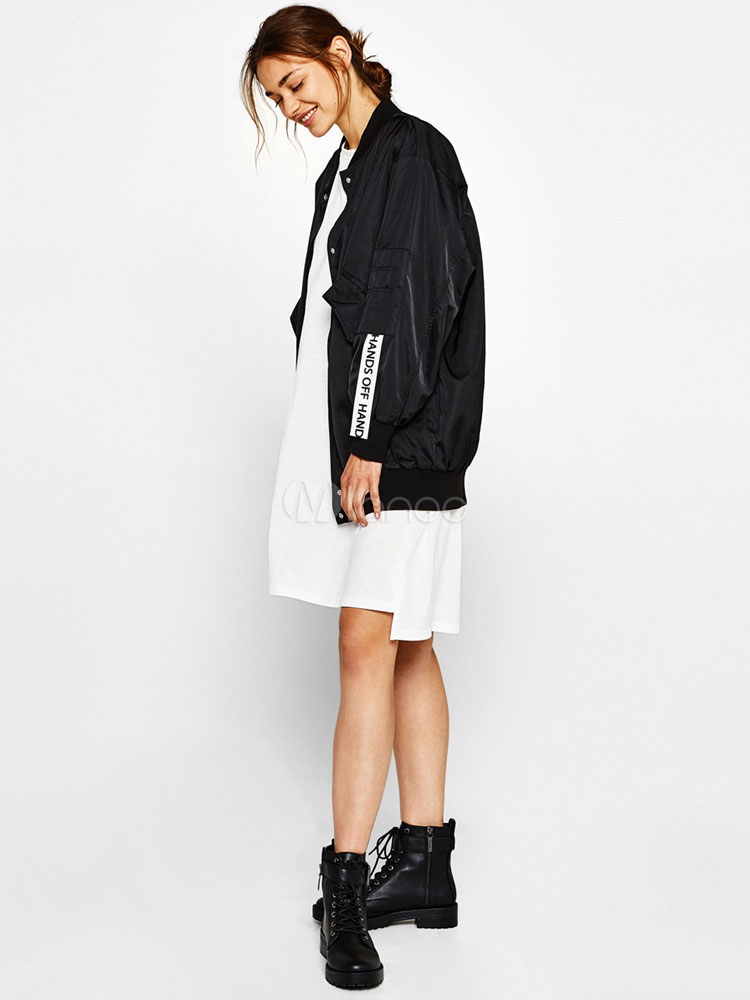 Buy Black Bomber Jacket Oversized Long Sleeve Stand Collar Embroidered Women Jacket for $33.24 in Milanoo store