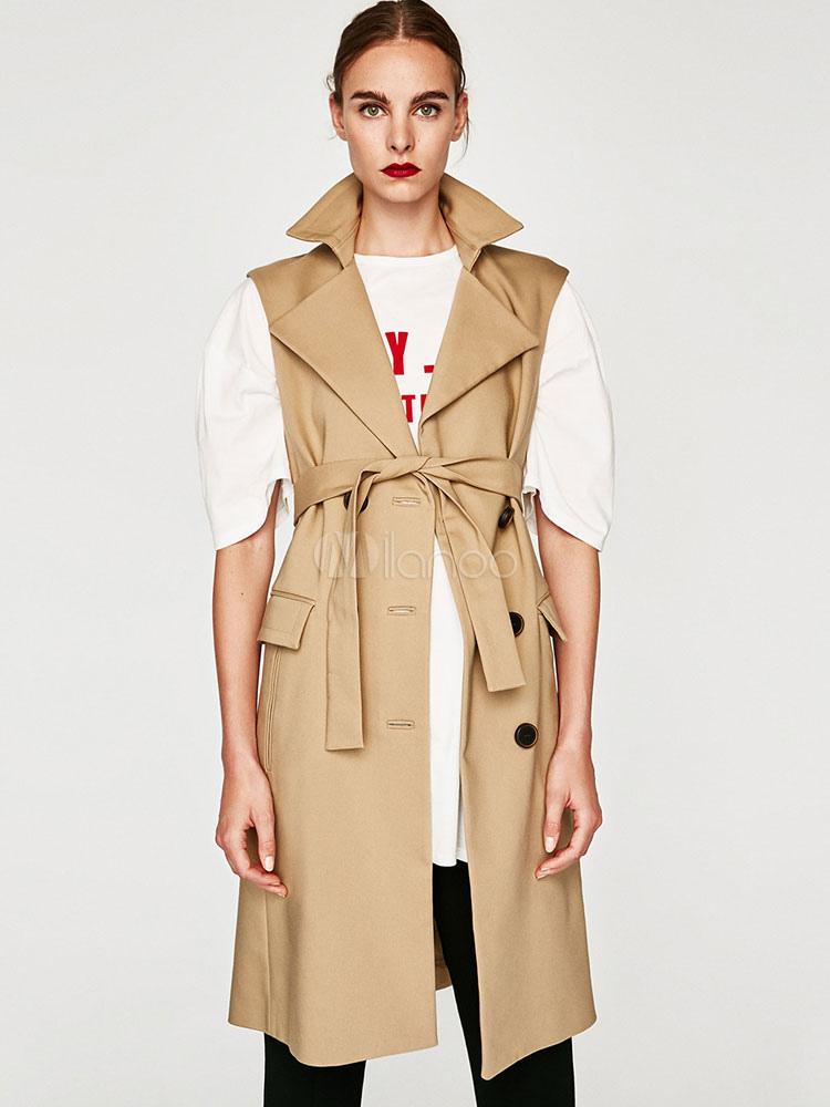 Buy Women Trench Coat Sleeveless Light Tan Notch Collar Sash Vest Coat for $41.39 in Milanoo store