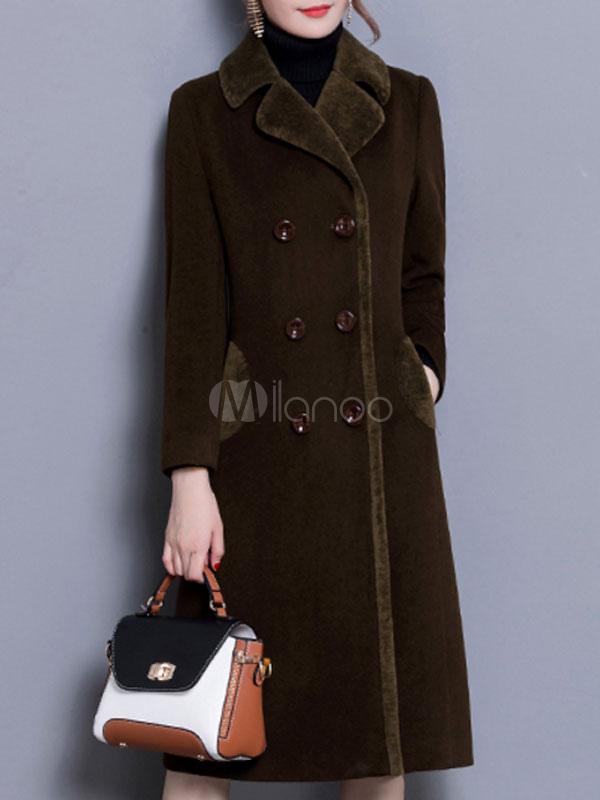 Women Pea Coat Burgundy Faux Fur Collar Coat Long Sleeve