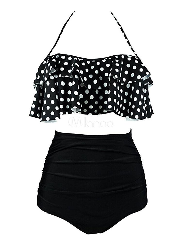 Buy Women Black Swimsuit Vintage Halter Polka Dot High Waist Two Piece Swimwear for $17.84 in Milanoo store