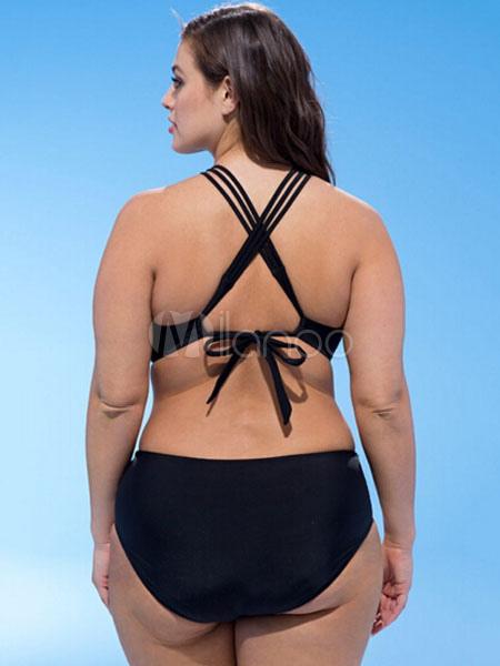 d8d6f3c98 ... Traje de baño negro de las mujeres más tamaño recortar las correas  traje de baño de