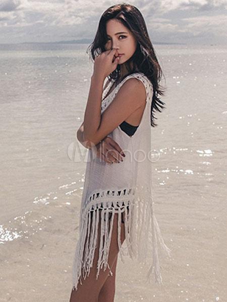 023f59a11bd5 ... White Cover Up V Neck Crochet Fringe Sleeveless Women Beach Wear-No.4  ...