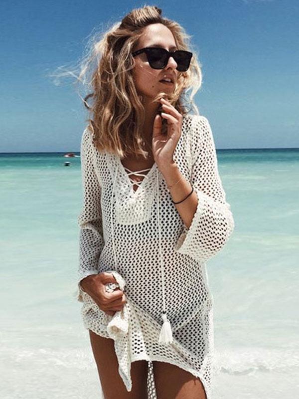 Buy Women Cover Up Crochet V Neck Long Sleeve Tassel White Beachwear for $22.49 in Milanoo store
