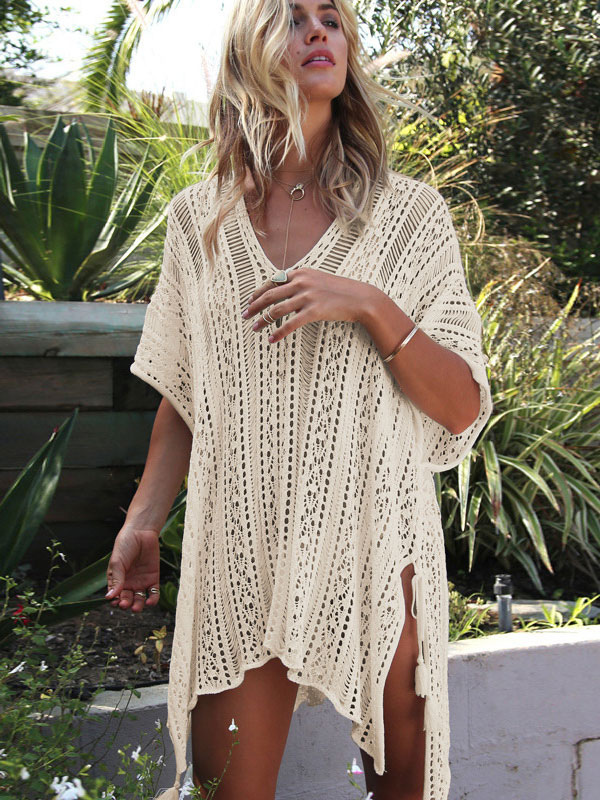 Women Cover Up Crochet V Neck Half Sleeve Slit Irregular Beach Wear
