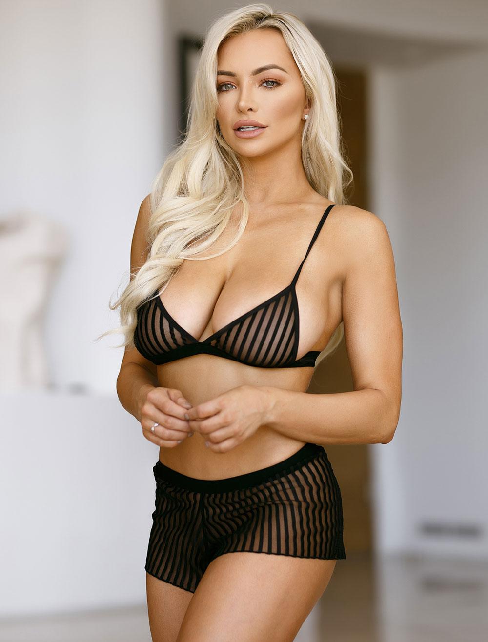 f30029788 Black Bra Set Striped Nylon Sexy Lingerie 2 Piece For Women ...