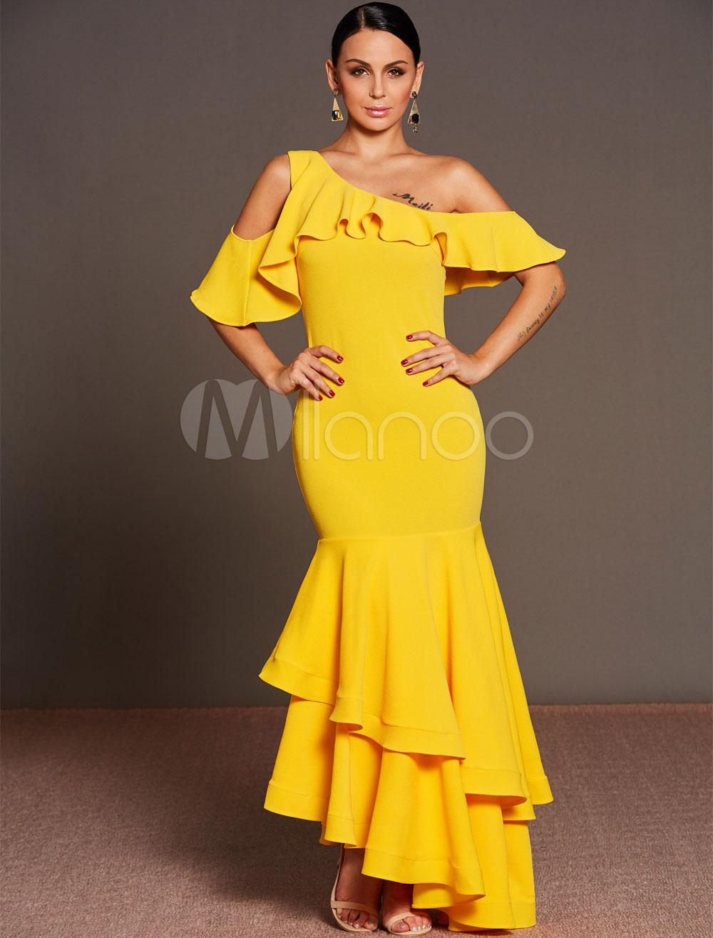 75c9278cd Vestido largo de chifón amarillo asimétrico Color liso con volantes ...