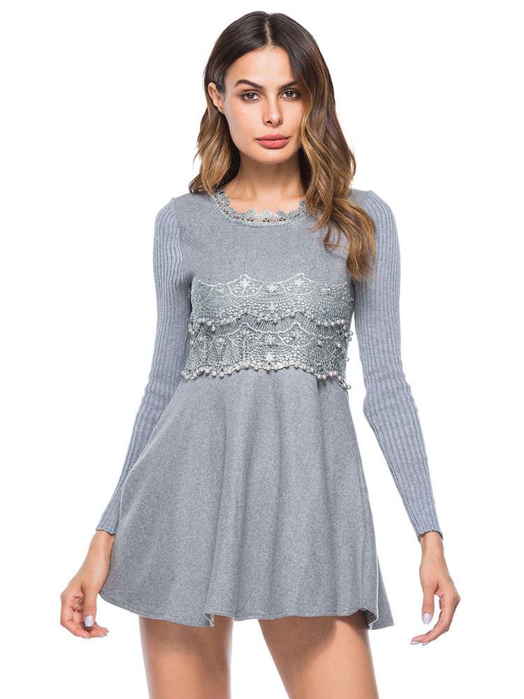8268301e588 ... Серые короткие платья женщин фигурист платье круглые шеи с длинным  рукавом плиссированные зимнее платье-No ...