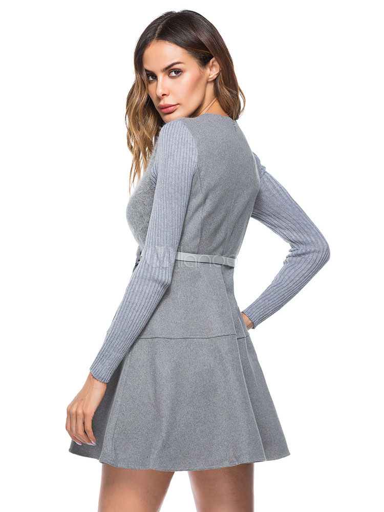 caa87fdd27de ... Grey Skater Dress Women Dress V Neck Long Sleeve Slim Fit Winter Dress  With Belt- ...