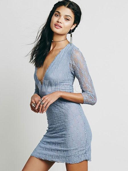 Women Lace Dress Plunging Neck Long Sleeve Light Blue Bodycon Dress