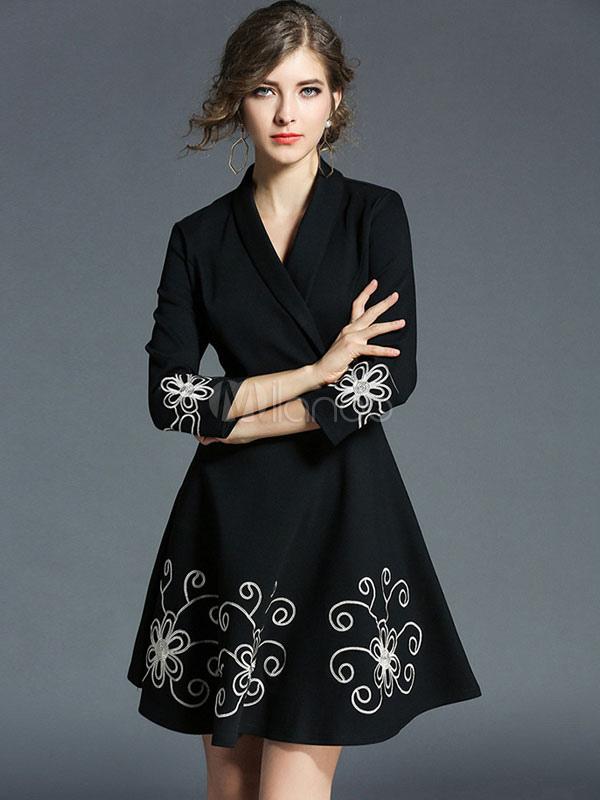 Buy Women Skater Dress Black V Neck 3/4 Length Sleeve Flare Dress Floral Printed Short Dress for $47.49 in Milanoo store