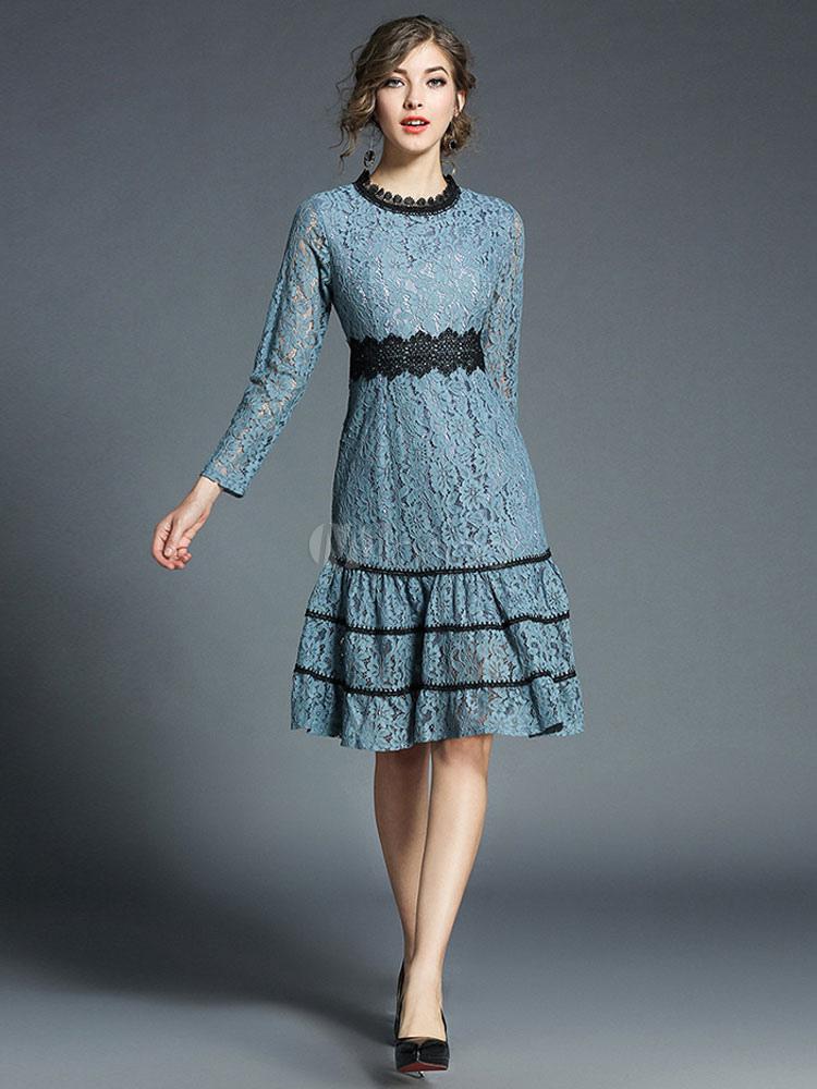bb9bb8564 ... Vestido de encaje estilo street wear de dos tonos de encaje con escote  redondo con manga ...