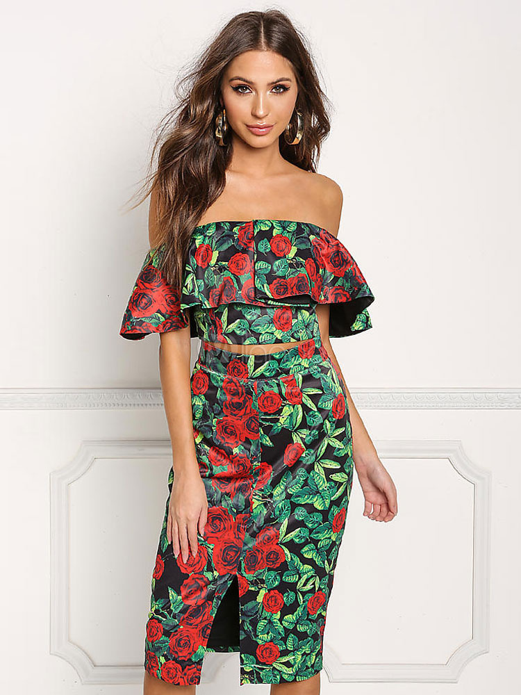 Buy Women Skirt Set 2 Piece Off The Shoulder Half Sleeve Chiffon Green Floral Print Top With Bodycon Skirt for $28.49 in Milanoo store