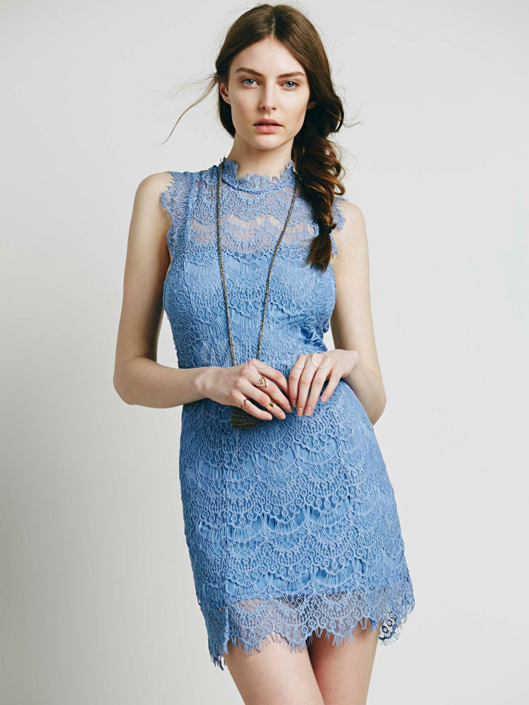 Buy Women Lace Dress Sleeveless Round Neck Backless Light Blue Bodycon Dress for $25.59 in Milanoo store