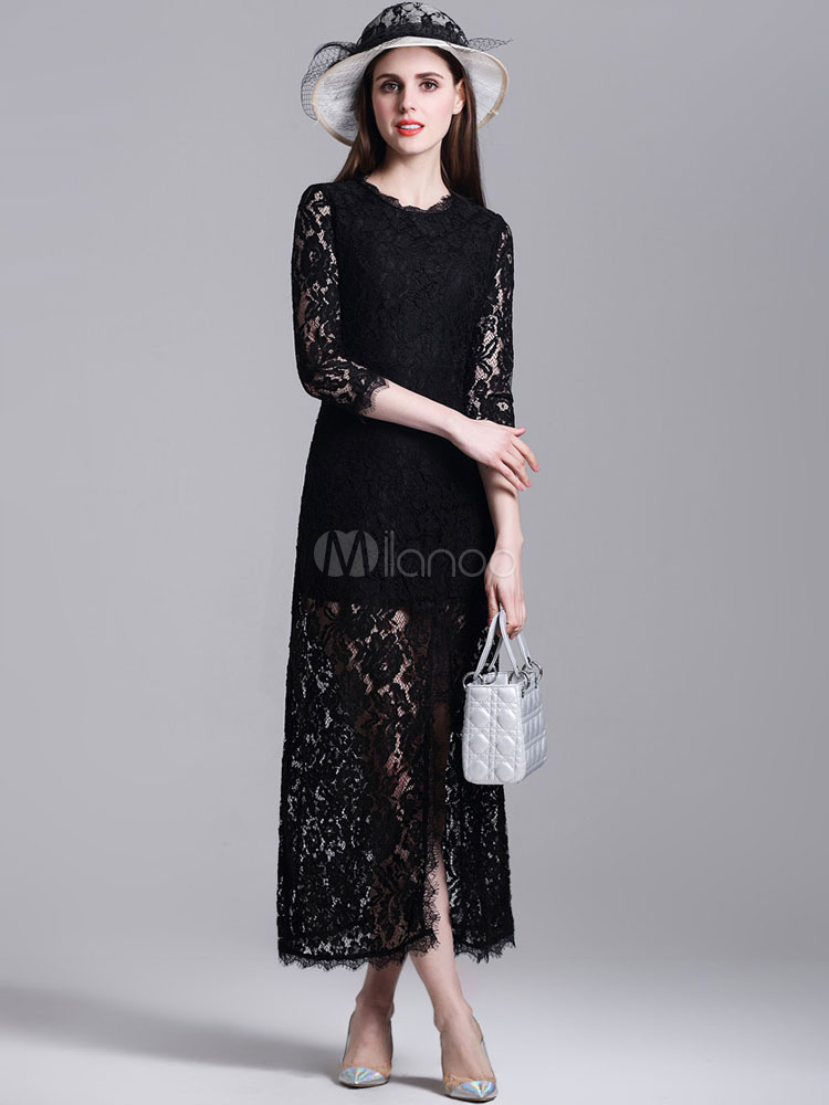 Buy Black Lace Dress Long Sleeve Round Neck Split Maxi Dress For Women for $35.19 in Milanoo store