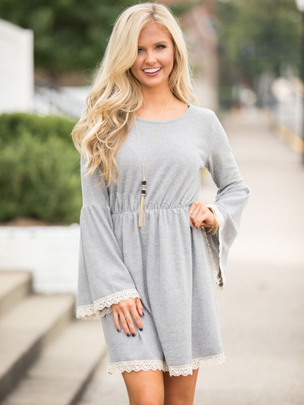 Buy Long Sleeve Women Dress Lace Tunic Dress Bell Sleeve Pleated Ruffle Spring Dress for $28.79 in Milanoo store