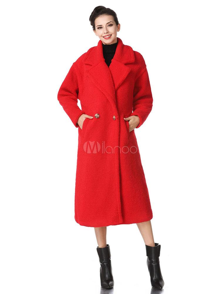 Buy Faux Fur Coat Wool Long Sleeve Notch Collar Shearling Coat Red Winter Coat For Women for $75.99 in Milanoo store
