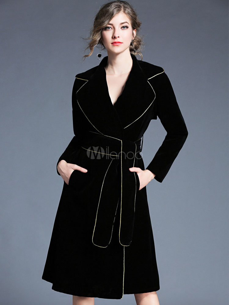 Buy Black Trench Coat Velour Long Sleeve Notch Collar Wrap Coat For Women for $61.19 in Milanoo store