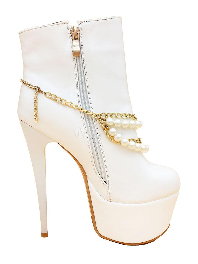 Botas de puntera redonda de tacón de stiletto con cadena estilo moderno Gbv4Wa