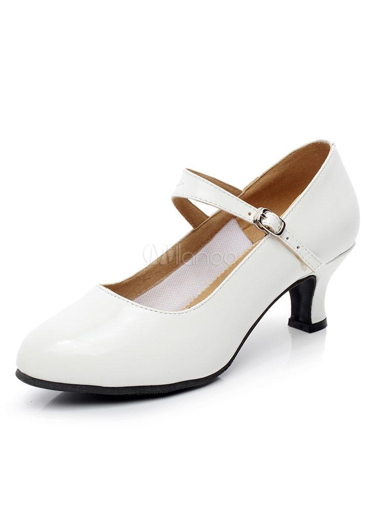 White Ballroom Shoes Round Toe Spool Heel Latin Dance Shoes For Women
