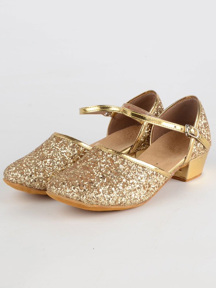 Gold Ballroom Shoes Chunky Heel Round Toe Glitter Latin Dance Shoes For Kids