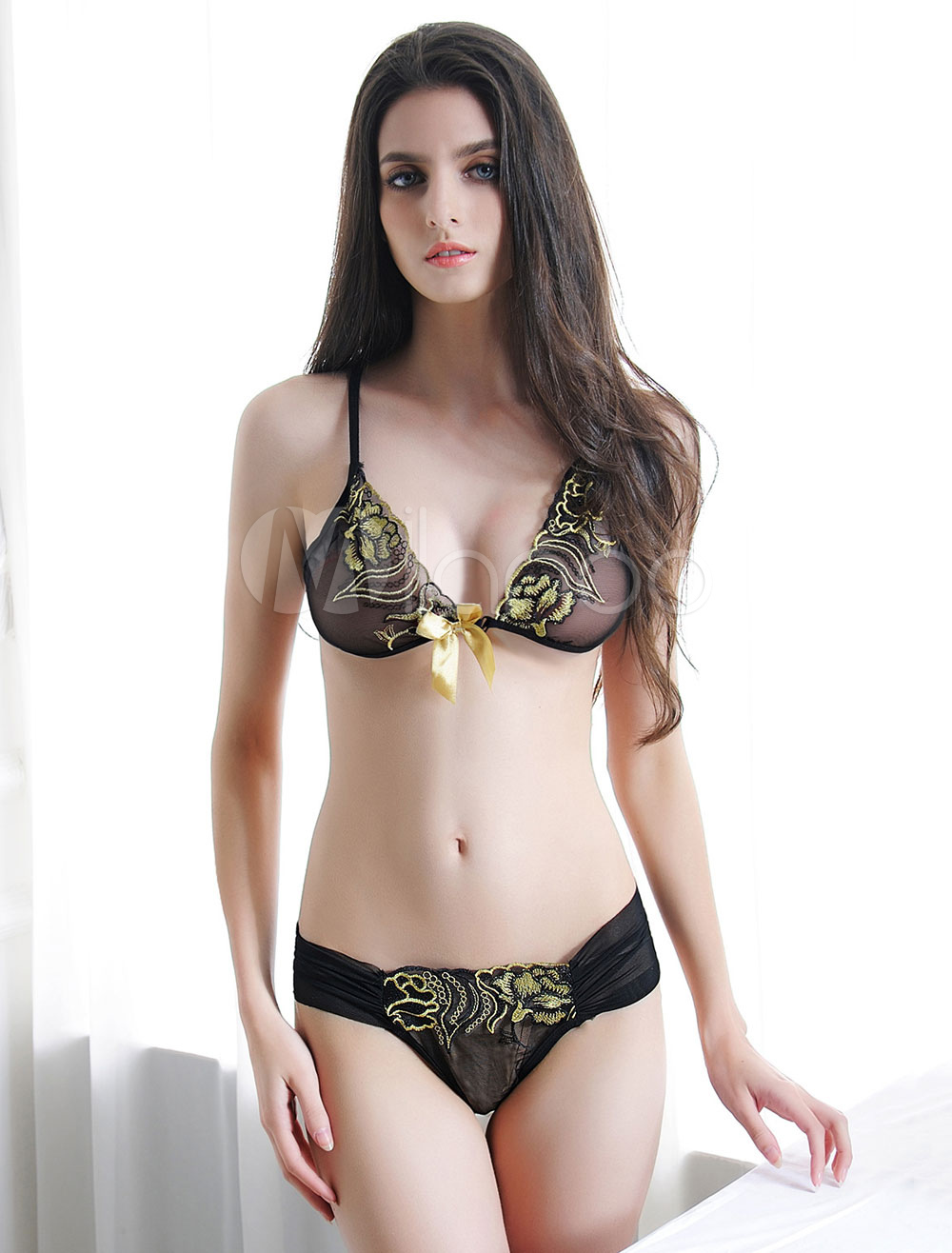 Black Bra Set Sexy Bows Embroidered 3 Pieces Lingerie For Women