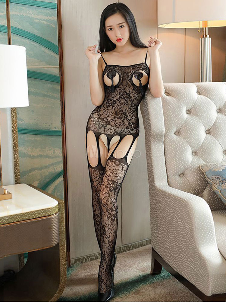 Black Sexy Bodystockings Cut Out Braless Hosiery For Women