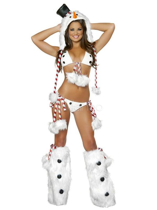 Weihnachtsschneemann-Frauen-Kostüm-Faux-Pelz-weißes ...