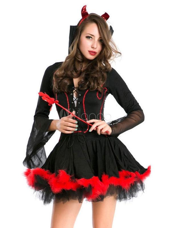 Black Demon Costume Women Black Mini Dress With Magic Fairy Wand And Headpieces Halloween