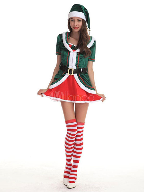 Buy Christmas Santa Clause Costume Green Velour Women Christmas Gift In 4 Pieces for $39.99 in Milanoo store