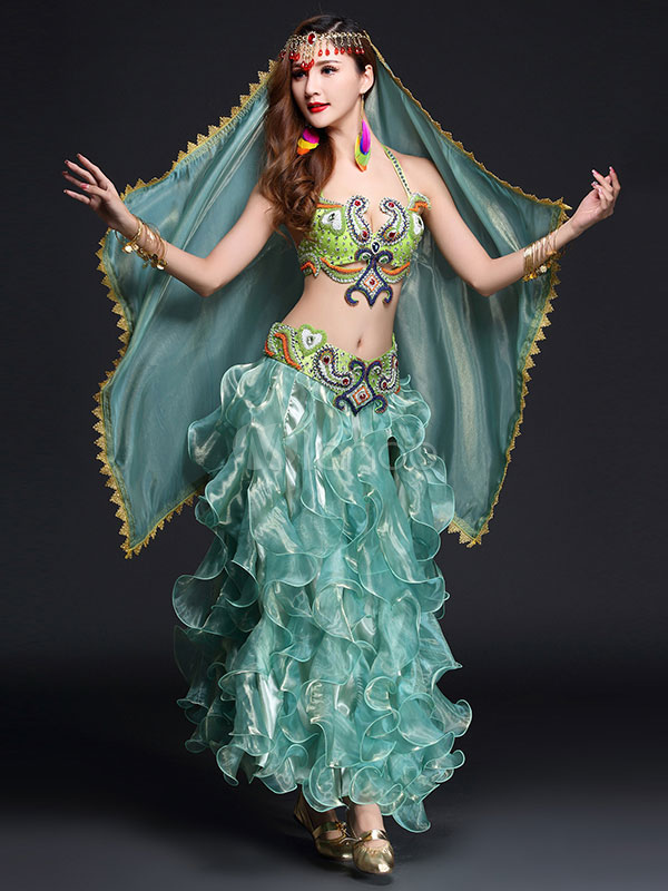 Belly Dance Costume Green Ruffles Long Skirt With Bra And Waist Chain For Women