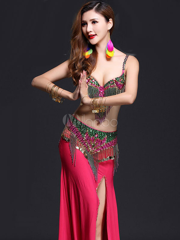 Belly Dance Costume Rose Long Skirt With Bra And Cummerbund For Women