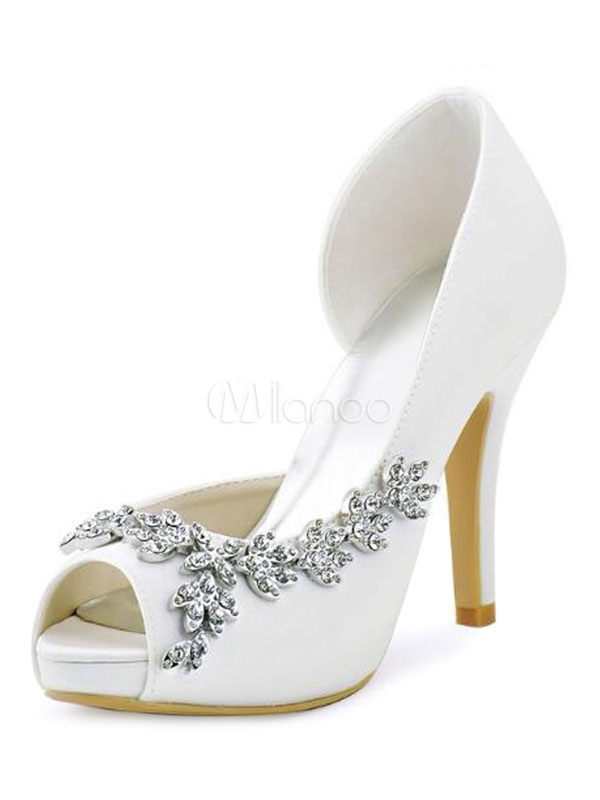 Buy Ivory Wedding Shoes High Heel Sandals Satin Peep Toe Rhinestones Slip On Bridal Pumps for $51.29 in Milanoo store