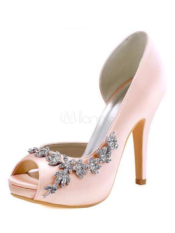 Toe On Pumps Bridal Peep Marfil Slip Zapatos Novia Sandalias Satén De Tacón Alto L54jAR