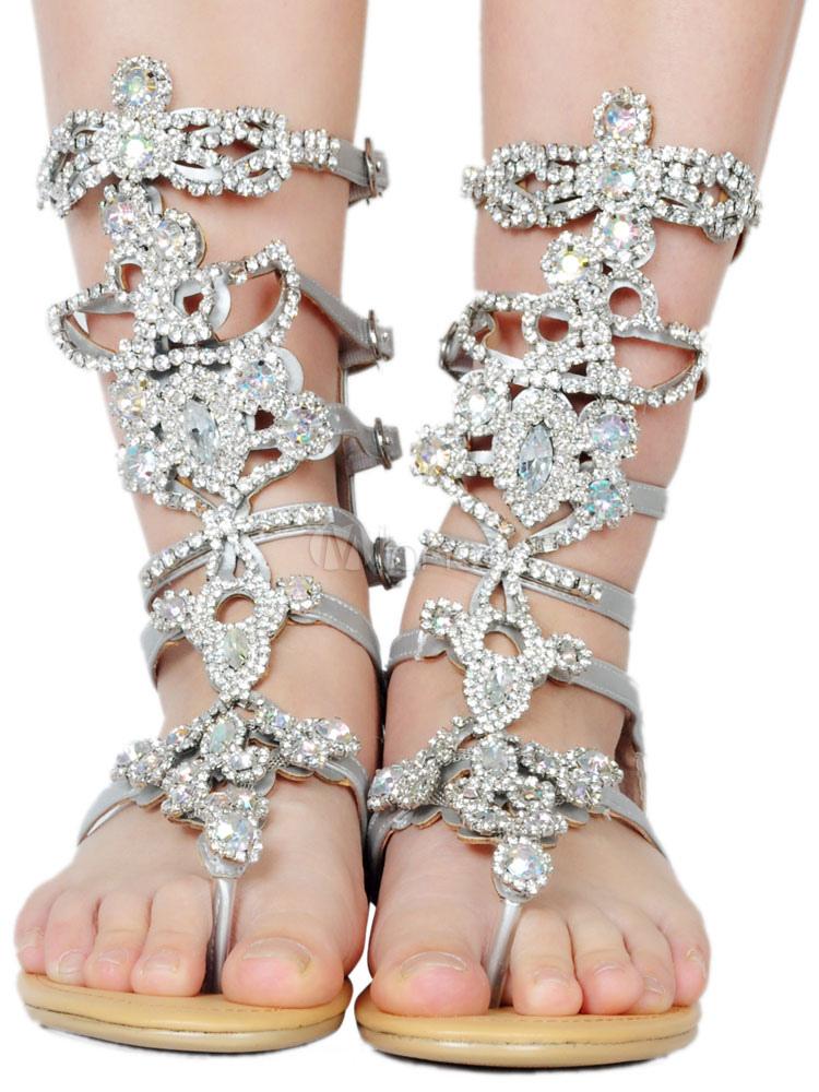 Silver Gladiator Sandals Women Sandals Toe Post Rhinestones Buckle Detail Flat Sandal Shoes