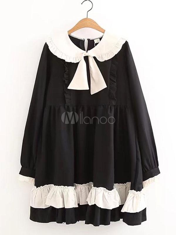 Buy Sweet Lolita OP One Piece Dress Long Sleeve Peter Pan Collar Ruffles Bows Two Tone White Lolita Dress for $67.49 in Milanoo store