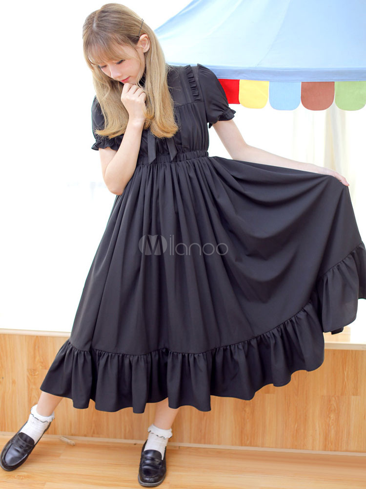 Buy Classic Lolita OP One Piece Dress Chiffon Short Sleeve Ruffles Black Lolita Dress for $71.99 in Milanoo store