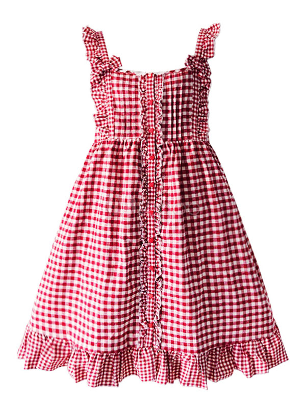 Buy Sweet Lolita JSK Jumper Skirt Sleeveless Ruffles Plaid Red Lolita Dress for $74.99 in Milanoo store