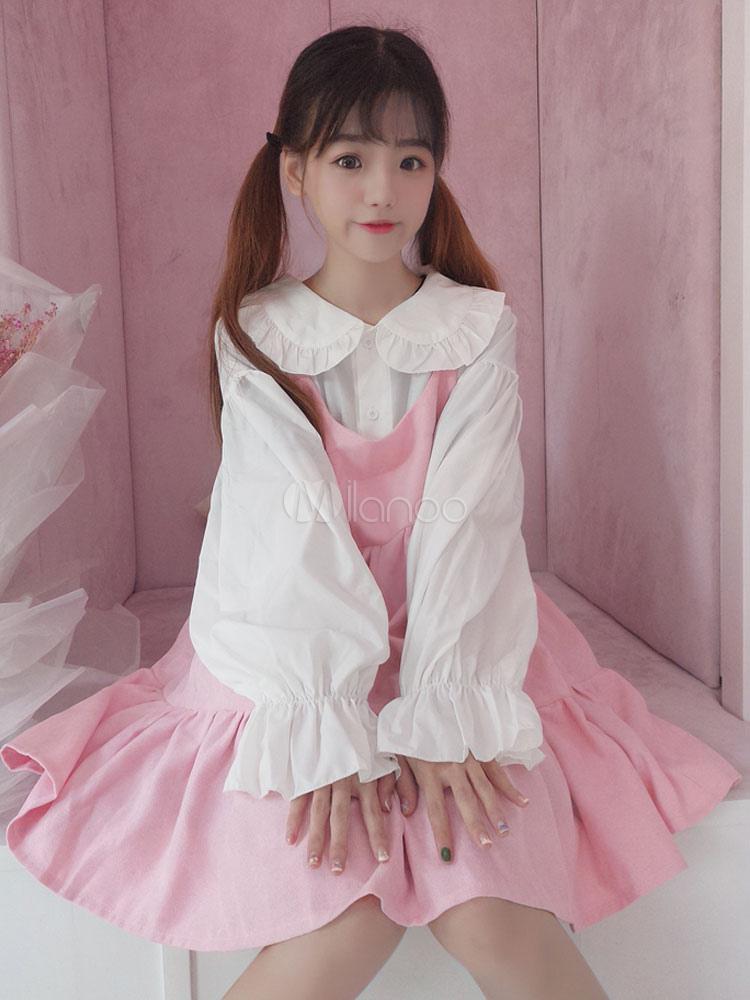 Buy Sweet Lolita JSK Jumper Skirt Ruffles Pink Lolita Dress for $59.99 in Milanoo store