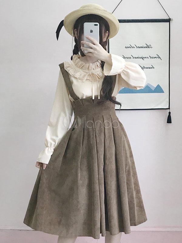Classic Lolita JSK Jumper Skirt Ruffles Olive Lolita Dress